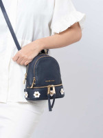 MICHAEL KORS Rhea XS Floral Applique Leather Backpack Admiral