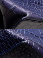 FURLA Croc Embossed Zucca Tote Blue Ink