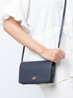 COACH 30256 Pebbled Leather Foldover Clutch Crossbody Midnight