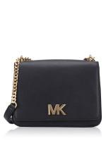 MICHAEL KORS Mott Large Chain Shoulder Bag Black Gold