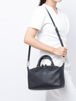 TORY BURCH Brody Leather Small Slouchy Satchel Black