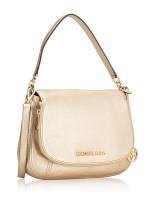 MICHAEL KORS Bedford Medium Leather Convertible Shoulder Bag Pale Gold