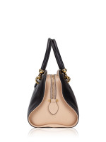 TOD'S Leather Small Sella Bowler Bag Black Beige